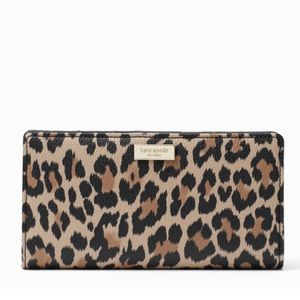NWT Kate Spade leopard Stacy wallet